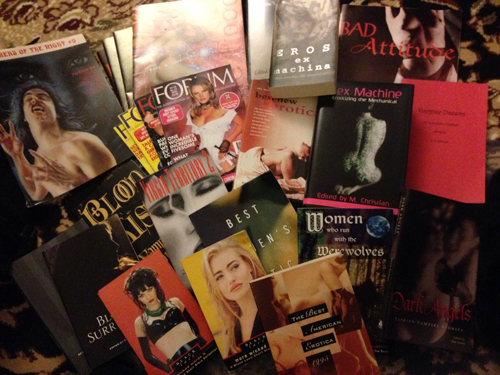 Some of the erotic magazines and anthologies Renee M. Charles was published in.